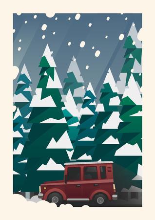 offroad: Winter snowfall off-road vehicle adventure Illustration