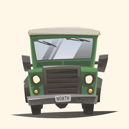 car road: Off road adventure car - Front view Illustration