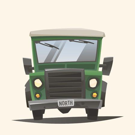 Off road adventure car - Front view Vektoros illusztráció