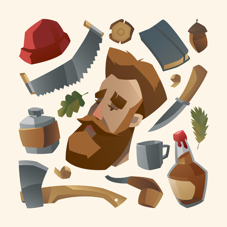 red beard: Lumberjack with red beard and his stuff Illustration