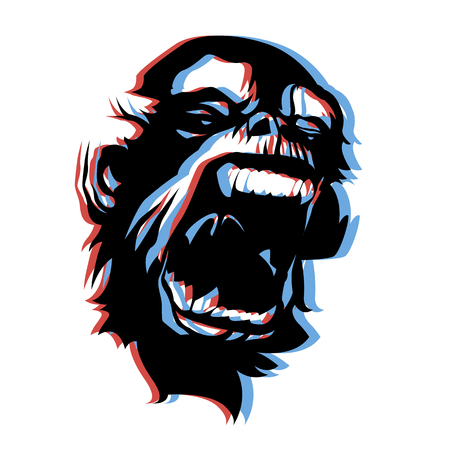 anaglyph: Very angry screaming monkey face 3D anaglyph style