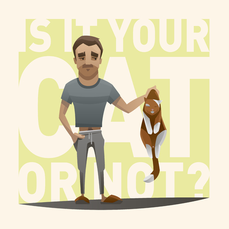 prankster: Men holding cat in his arm - Is it your cat Illustration