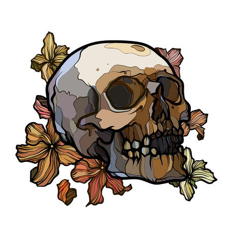 grumpy old man: Abstract outline skull with flowers