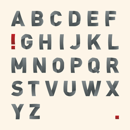 latin: Vector bended font - Latin alphabet letters