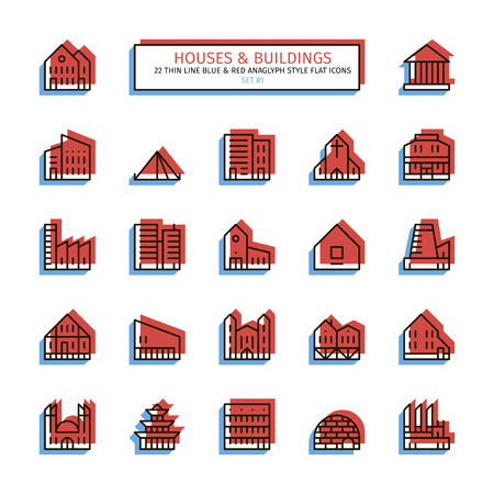 Thin line icon set. 3D red and blue style. House, buildings, religious institutes, plants and factories icons. Ilustração