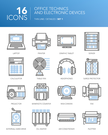 banknote: Detailed thin line icons for business. Office technician and electronic devices. Laptop, printer, server, fax, fan, headphones and other devices. Illustration