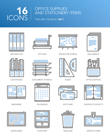 Detailed thin line icons for office and business. Office supplies and stationery items. Documents, calendar, rulers, contact cards and other items.