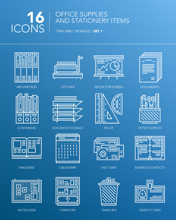 Detailed thin line icons for office and business. Office supplies and stationery items. Documents, calendar, rulers, contact cards and other items. Vector