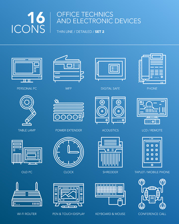 mfp: Detailed thin line icons for business. Office technics and electronic devices. PC, MFP, lamp, clock, acoustics, tablet, smartphone and other devices. Vector.