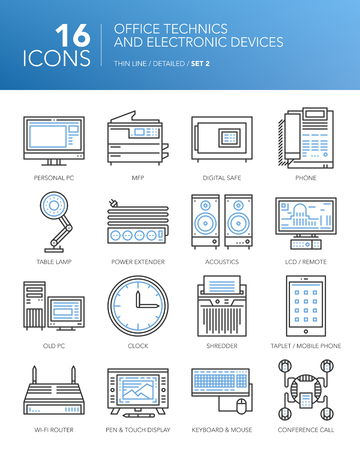 mfp: Detailed thin line icons for business. Office technician and electronic devices. PC, MFP, lamp, clock, acoustics, tablet, smartphone and other devices.
