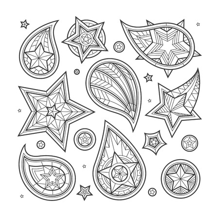 shoulder buttons: Hand drawn line star paisley swirls and decorative elements on white background. Brutal army style. Illustration