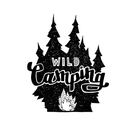 Hand drawn vintage label with, forest and bonfire. Hand made badge. Lettering with text: Wild Camping. Hand crafted vector illustration for design, print, poster, greeting card.