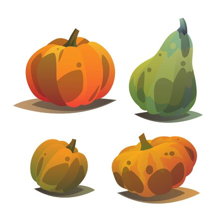 Modern cartoon style with gradient of different pumpkins which can be use as an element for design, postcard or web.