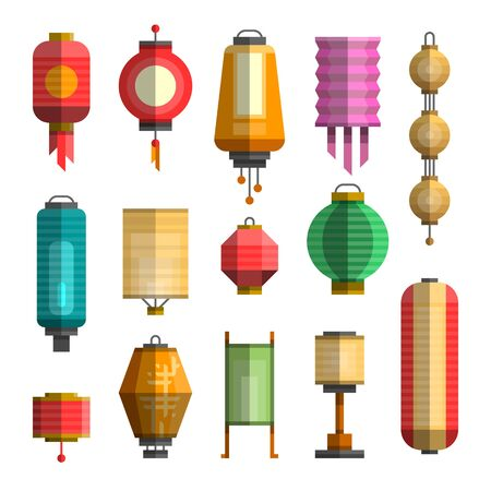 Modern colorful flat illustration of different china lanterns for festival paper lantern which can be use as elements for design, web, posters, banners, postcards and advertising.