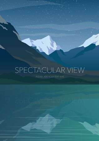 calm water: High mountains and calm lake water landscape. Clear sky and stars. Spectacular view. Poster. Modern flat design. Vector illustration.
