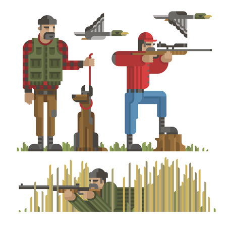 Modern geometric flat style of set of hunters silhouette in different poses with weapon, gun, riffle, dog and duck, used for design, web and infographic.