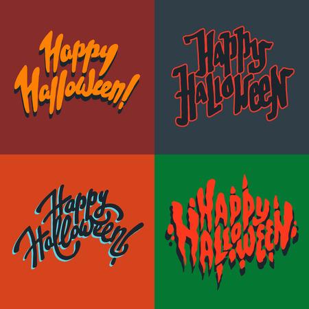 creepy hand: Vector illustration set of halloween postcards. Creepy happy halloween postcards. Autumn holiday postcard. Season holiday. Hand drawn lettering with text happy halloween. Illustration