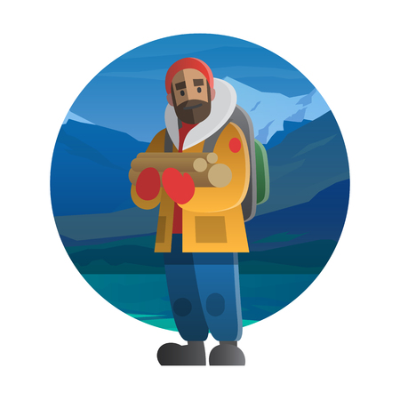 tripping: Man with beard wearing backpack and holding woods; can be use for postcard, banner or web for  a theme winter adventure, outdoor activity, nature tripping, hiking, trekking and mountain climbing