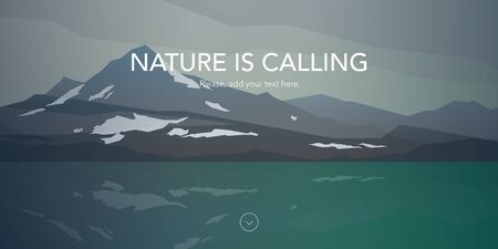 calm water: Cold mountains and calm sea water landscape. Gray clouds. Nature is calling. Web header. Modern flat design. Vector illustration.