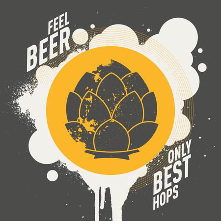bruise: Modern graffiti style splash stain sticker with hop emblem icon. Text: feel the beer, only best hops. Vector illustration.
