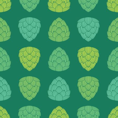 fragrant: Seamless pattern with flat style green color hops. Fragrant fresh and sweet. Nice background for beer industry. Vector illustration.