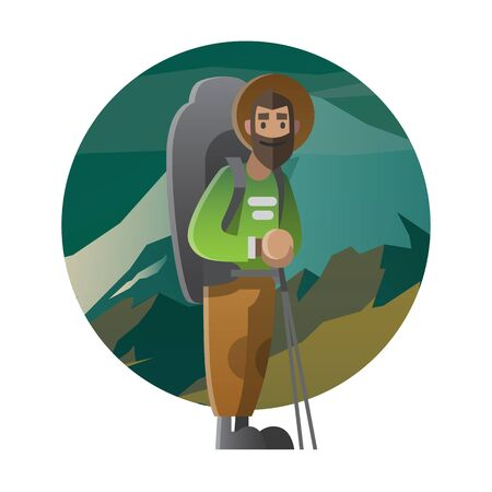 tripping: Illustration of a man with huge backpack and holding trekking pole; can be use for postcard, banner or web for  a theme summer adventure, outdoor activity, nature tripping, hiking, trekking and mountain climbing.