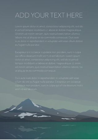 calm water: High hills with snow and calm lake water. Spectacular view. Gray clouds. Poster or banner for your message. Modern realistic design. Vector illustration.
