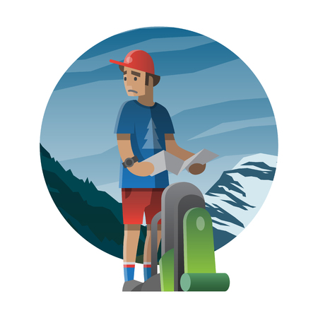 tripping: Illustration of a young man lost, holding a map; can be use for postcard, banner or web for  a theme summer adventure, outdoor activity, nature tripping, hiking, trekking and mountain climbing. Illustration