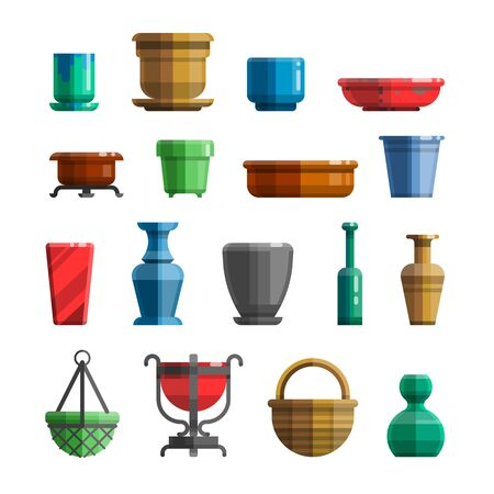 flowerpots: Different flowerpots, pots for flowers, vases, ceramics, trays, bottles. Big set in modern colorful flat style for designs. Isolated vector illustration.