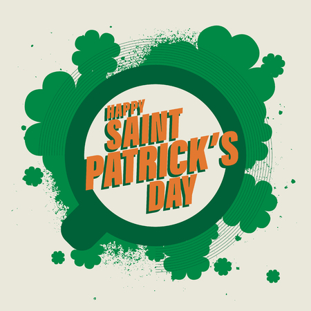 Happy Saint Patricks day. National holiday of Ireland. Modern graffiti style icon or sticker. Cup and clover leaves in green color. Abstract modern flat style. Vector illustration.