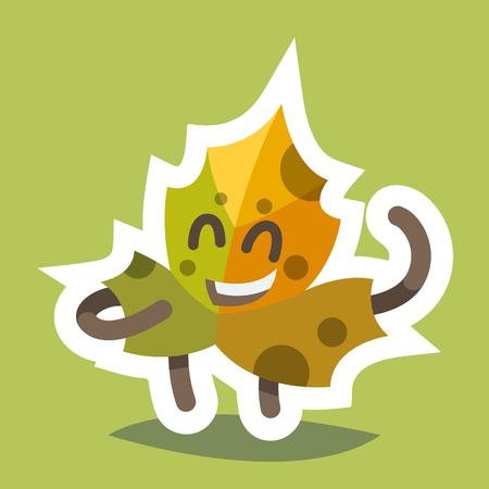 passion  ecology: Emoticon Icon Friendly Maple Leaf Illustration