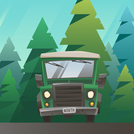 Green off road truck ride through the forest Illustration