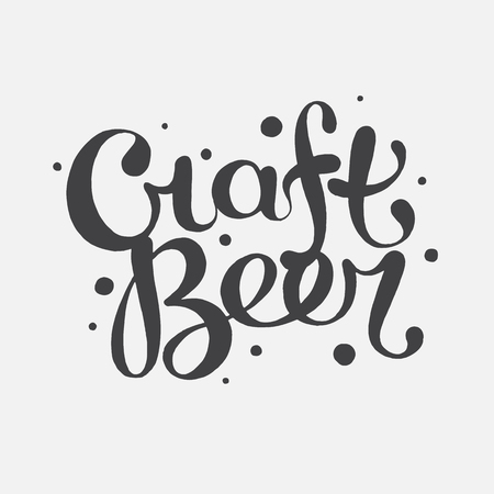 Hand drawn lettering craft beer text Illustration