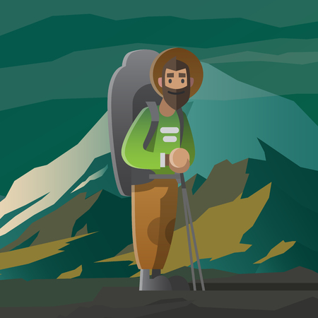 away travel: Man with big beard and backpack in the mountains.