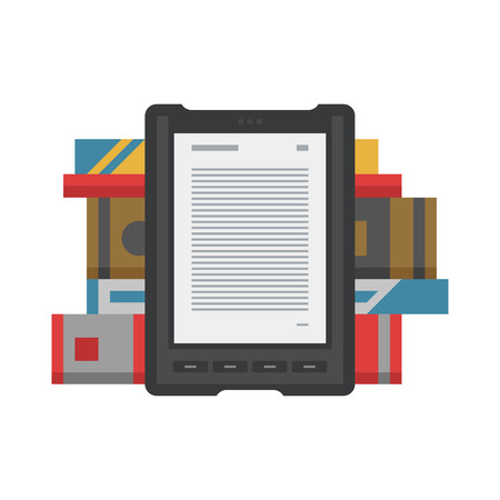 electronic book: Electronic mobile book with paper books icon. Illustration