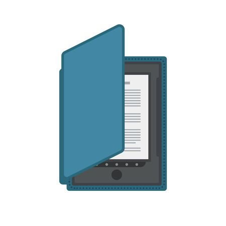 ereader: Electronic mobile book with cover isolated icon.