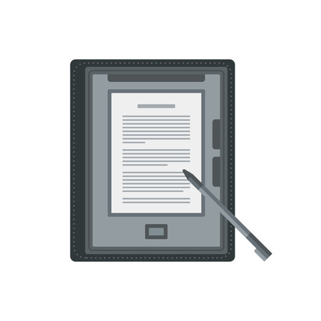ereader: Electronic mobile book with stylus isolated icon.