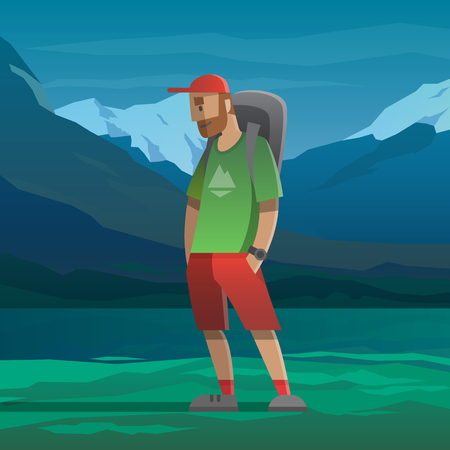 peak hat: Man with red cap and backpack in the mountains.