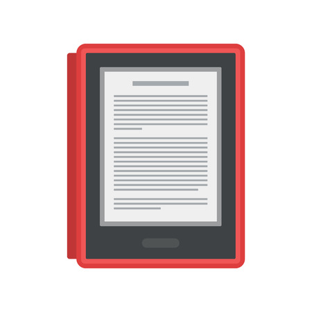 Electronic mobile book with red cover icon.