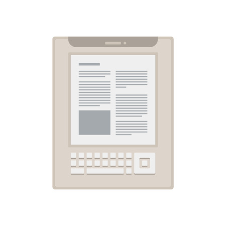 electronic book: Electronic mobile white book with keyboard icon.
