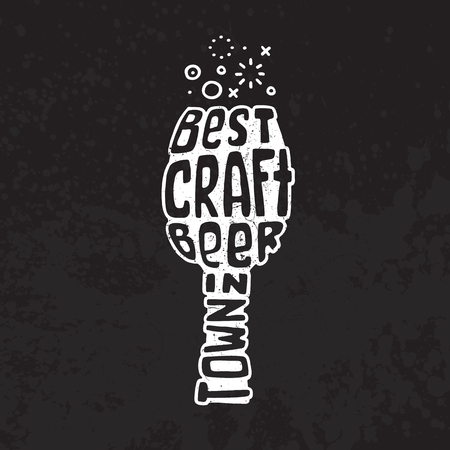 hangover: Hand drawn lettering best craft beer in glass.