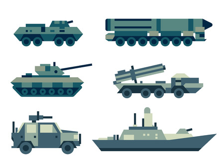 destroyer: Military army machines technics set. Illustration