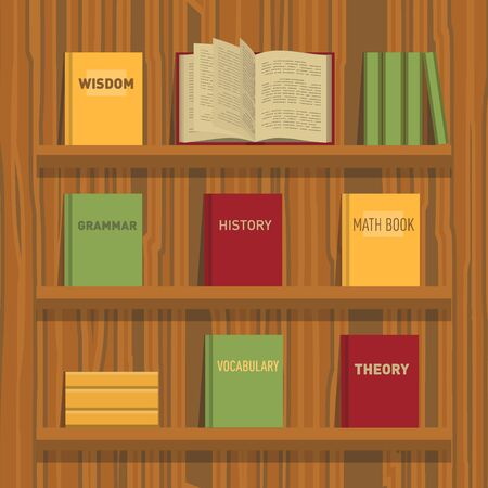 tutorials: Set of new flat colorful books and tutorials on a bookshelf and one open book. Classbooks and textbooks icons on wood texture. Education symbol logo. Illustration vector art.