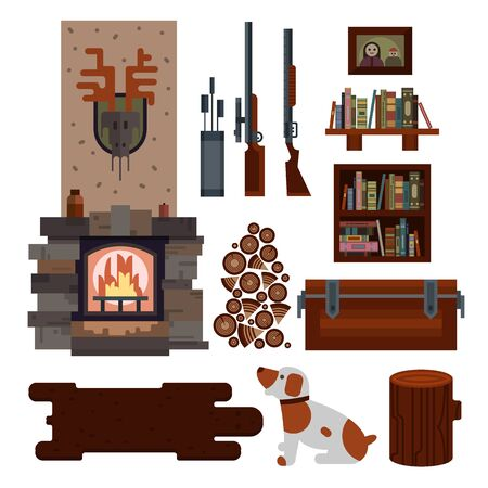 Hunters house interior elements isolated on white background. Vector illustration art.