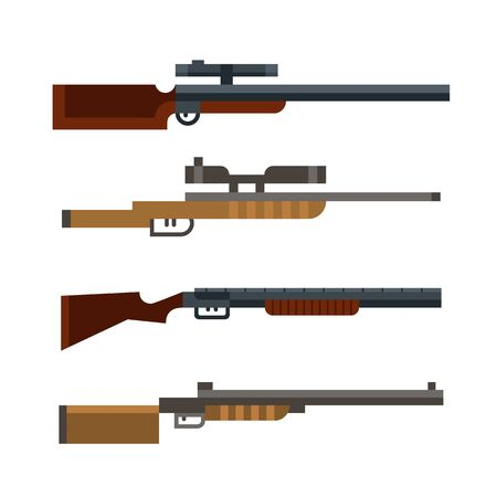 rifleman: Set of hunters shotguns isolated on white background. Vector illustration art.