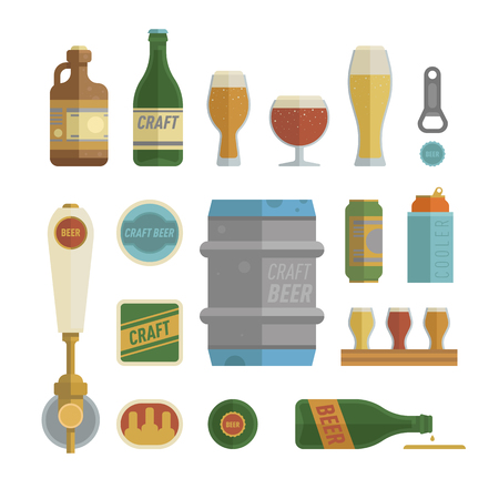 Craft beer items set. Differens beer elements include bottles, glasses, keg, can and bottle opener for bar, pub, home brewery, alcohol store. vector illustration art in flat style. Illustration