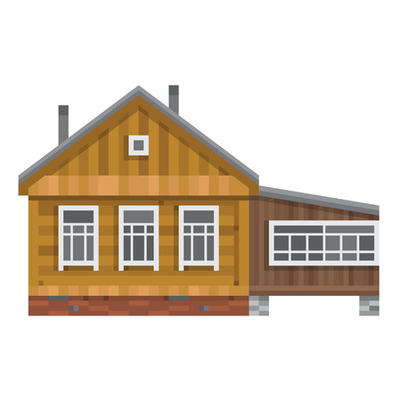 log wall: Old Russian country house. All season dacha. Wood cabin for living. Vector illustration art.
