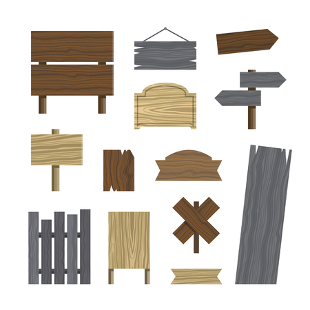 plywood: Various wooden plaques and signs. Set of different wood texture signs. Vector illustration. Illustration