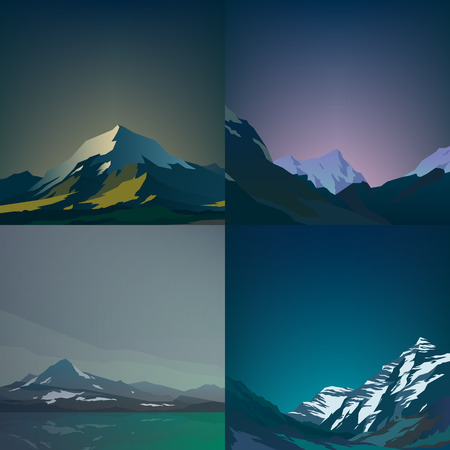 Set of high mountains and calm lake water landscapes. Clear sky and stars. Spectacular view. Poster or web banner. Modern flat realistic design. Vector illustration. Illustration