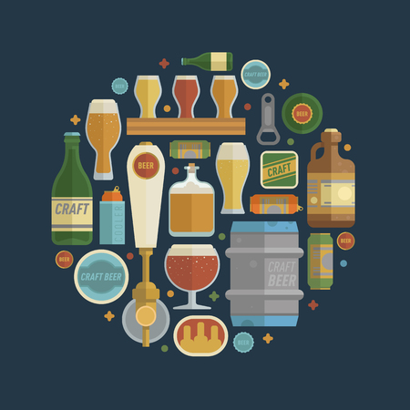 Craft beer items creative set in circle.